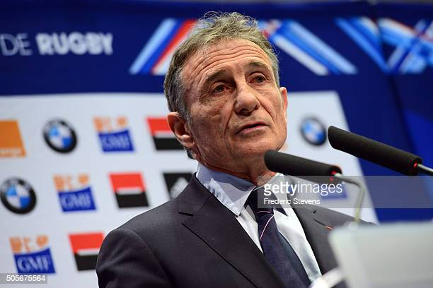 Newly appointed France rugby coach Guy Noves names his 31 player squad for the Six Nations tournament 2016 during a press conference on January 19...