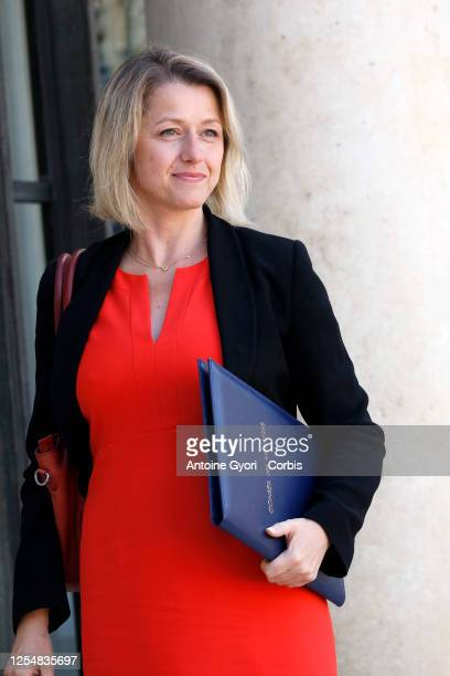 Newly appointed French Ecological Transition Minister Barbara Pompili arrives at the Elysee presidential palace to attend a weekly cabinet meeting on...