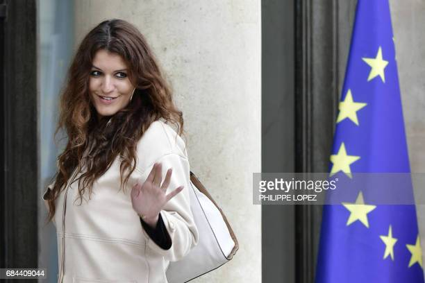 Newly appointed French Junior Minister in charge of Equality between men and women Marlene Schiappa leaves the Elysee presidential palace in Paris on...