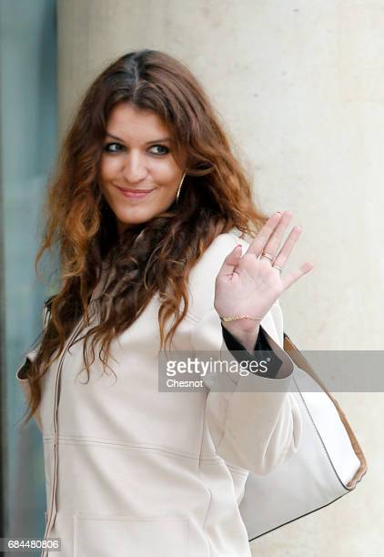 Newly appointed French Junior Minister in charge of Equality between men and women Marlene Schiappa arrives at the Elysee presidential palace for the...