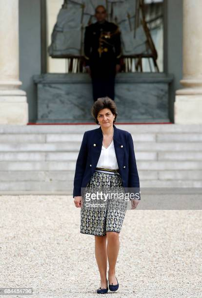 Newly appointed French Minister of Armed Forces Sylvie Goulard leaves the Elysee Presidential Palace after the first weekly cabinet meeting on May 18...