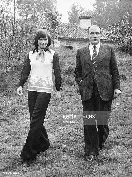 Newly appointed French President Francois Mitterand and his wife Danielle in the garden of their home May 1981