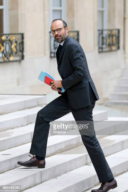 Newly appointed French Prime minister Edouard Philippe arrives at the Elysee presidential palace for the first weekly cabinet meeting on May 18 2017...