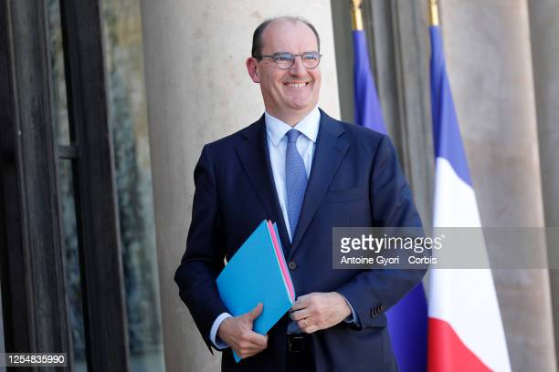 Newly appointed French Prime Minister Jean Castex arrives at the Elysee presidential palace to attend a weekly cabinet meeting on June 07 2020 in...