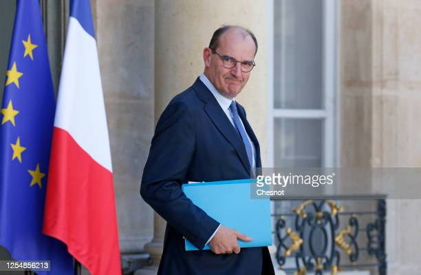 Newly appointed French Prime Minister Jean Castex leaves the Elysee presidential Palace after a weekly cabinet meeting on June 07 2020 in Paris...