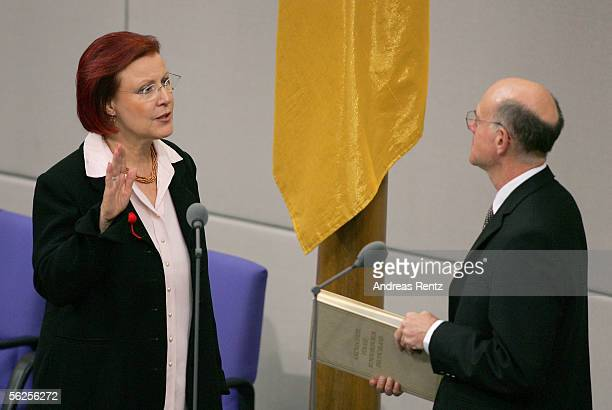 Newly appointed German International Development Minister, Heidemarie Wieczorek-Zeul takes the oath of office by Norbert Lammert , President of the...
