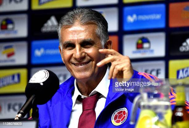 Newly appointed head coach Carlos Queiroz smiles during his presentation as Colombia's National Team head coach on February 07 2019 in Bogota Colombia