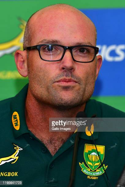 Newly appointed head coach Jacques Nienaber during the Springbok press conference at Southern Sun Pretoria on January 24 2020 in Pretoria South Africa