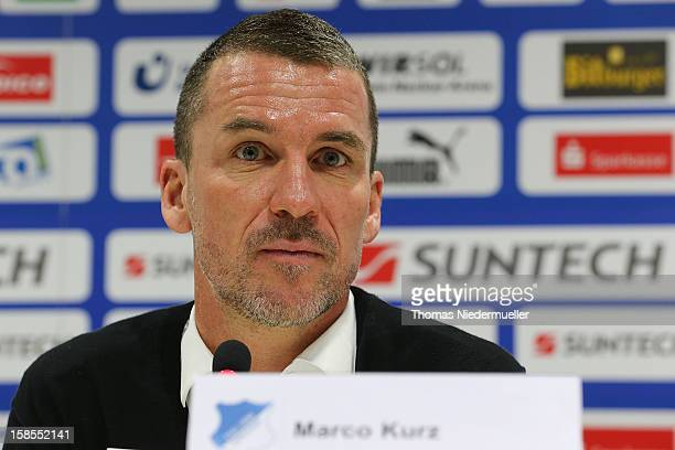 Newly appointed head coach Marco Kurz of TSG 1899 Hoffenheim attends a press conference at the club's training ground on December 19, 2012 in...
