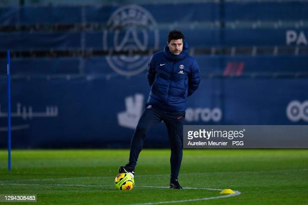 Newly appointed head coach Mauricio Pochettino looks on during a Paris Saint-Germain training session at Ooredoo Center on January 03, 2021 in Paris,...