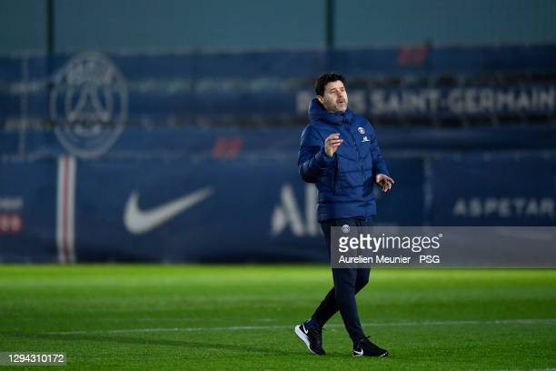 Newly appointed head coach Mauricio Pochettino reacts during a Paris Saint-Germain training session at Ooredoo Center on January 03, 2021 in Paris,...