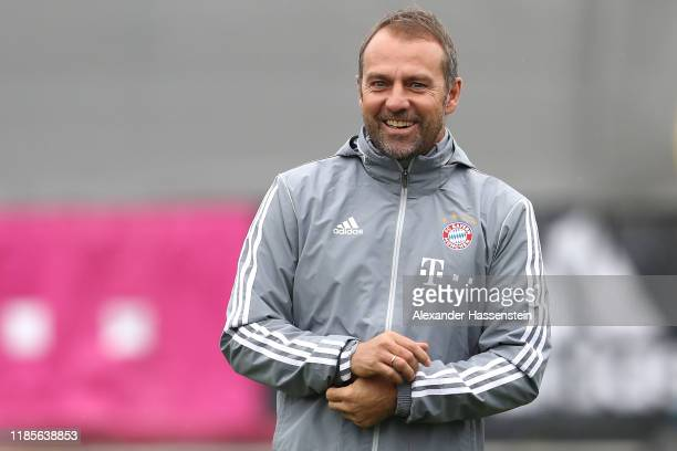 Newly appointed head coach of Bayern Muenchen HansDieter Flick smiles during a training session at Saebener Strasse training ground on November 05...