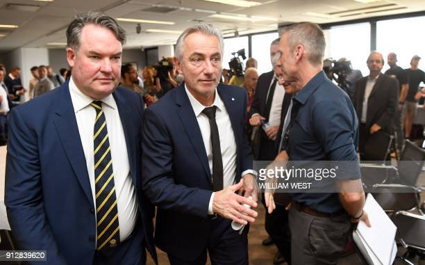 Newly appointed head coach of the Australian national football team Bert van Marwijk of the Netherlands leaves after his first press conference in...
