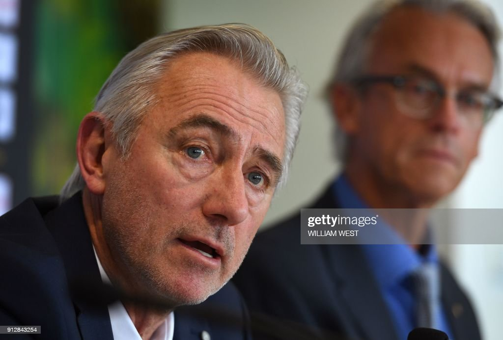Newly appointed head coach of the Australian national football team, Bert van Marwijk of the Netherlands attends his first press conference in Sydney on February 1, 2018. Van Marwijk will lead the Socceroos to the 2018 World Cup in Russia after the resignation of former coach Ange Postecoglou who left to take up a position in Japan's domestic J-League. /