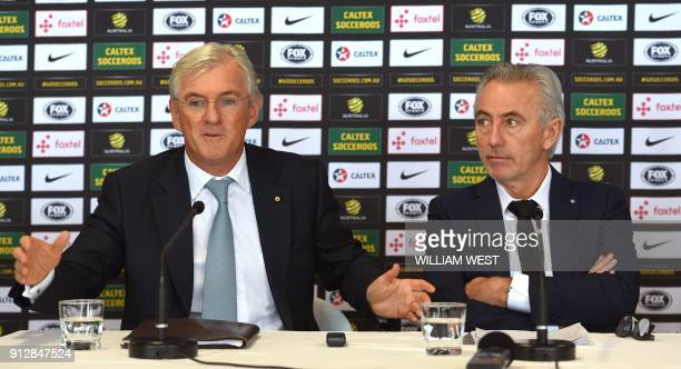 Newly appointed head coach of the Australian national football team Bert van Marwijk of the Netherlands attends his first press conference with...
