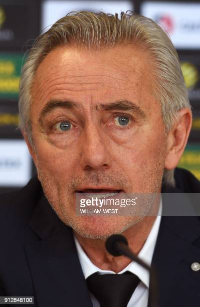 Newly appointed head coach of the Australian national football team Bert van Marwijk of the Netherlands attends his first press conference in Sydney...