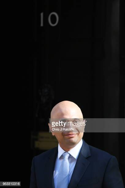 Newly appointed Home Secretary Sajid Javid attends the first cabinet meeting following the ReShuffle at Downing Street on May 1 2018 in London...