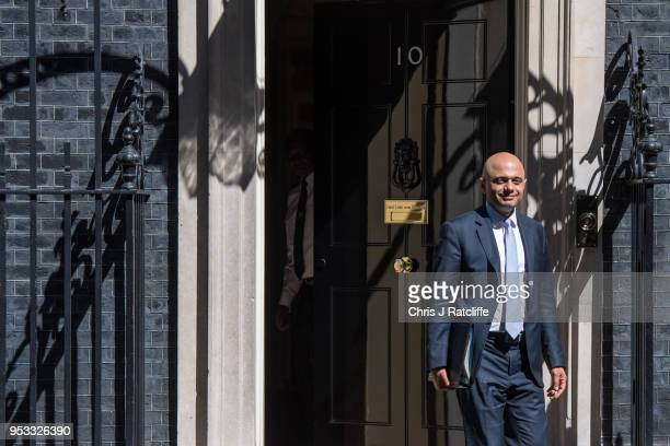 Newly appointed Home Secretary Sajid Javid leaves after the first cabinet meeting following the ReShuffle at Downing Street on May 1 2018 in London...