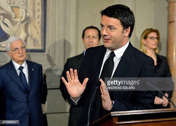 Newly appointed Italian Prime Minister Matteo Renzi's gives a press conference to announce the names of the ministers of his new government after a...