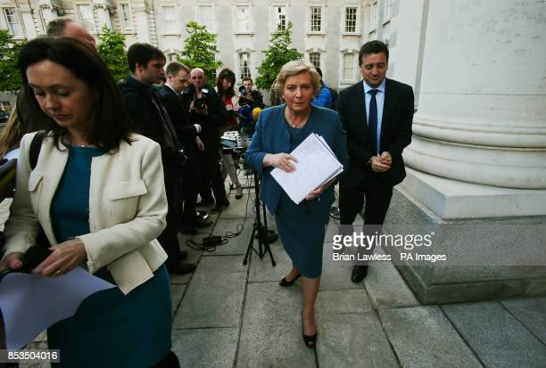 Newly appointed Justice Minister Frances Fitzgerald leaving after speaking to the media at Government Buildings Dublin