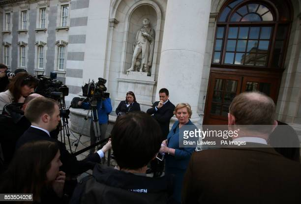 Newly appointed Justice Minister Frances Fitzgerald speaking to the media at Government Buildings Dublin