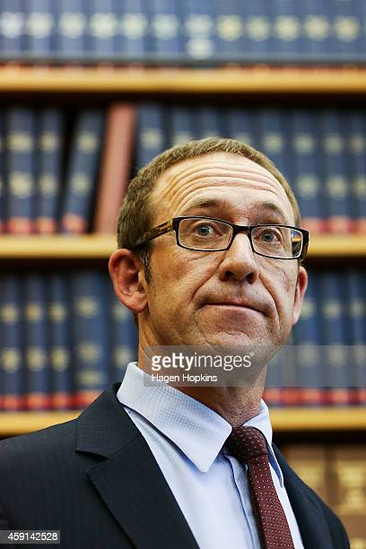 Newly appointed Labour leader Andrew Little speaks to the media during a press conference at Parliament House on November 18 2014 in Wellington New...