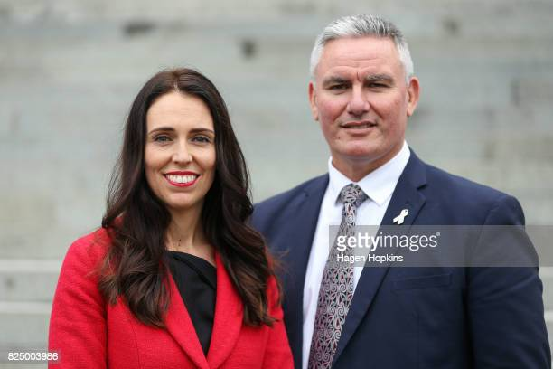 Newly appointed Labour leader Jacinda Ardern and deputy Kelvin Davis pose after a presss conference at Parliament on August 1 2017 in Wellington New...