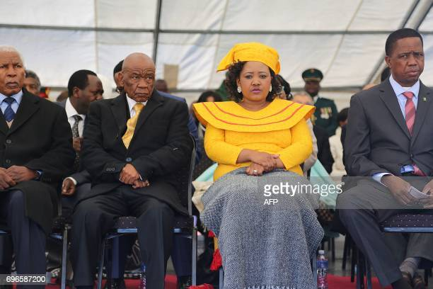 Newly appointed Lesotho prime Minister Thomas Thabane leader of the All Basotho Convention political party his wife Maesaiah Thabane and Zambian...