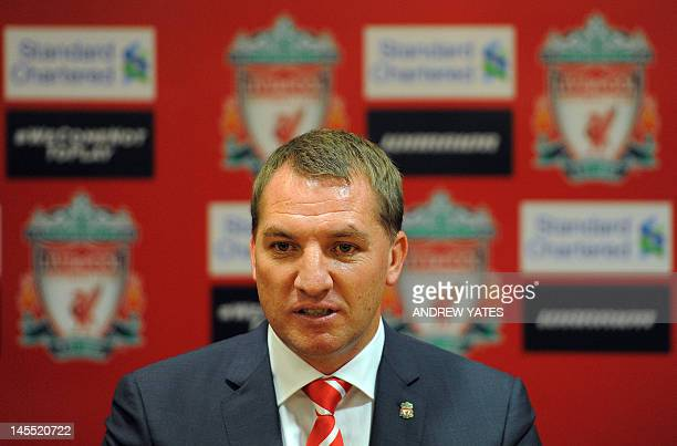 Newly appointed Liverpool football club manager Brendan Rodgers attends a press conference to announce his arrival at Anfield in Liverpool northwest...