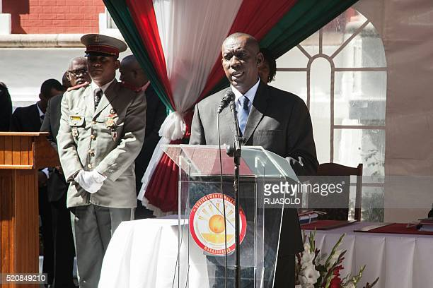Newly appointed Madagascar Prime Minister Olivier Mahafaly Solonandrasana delivers a speech during the swearing in ceremony at Mazoharivo Palace on...