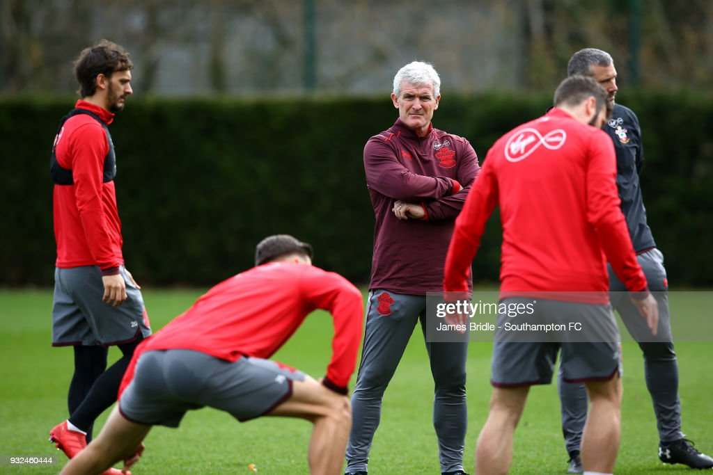 Newly appointed manager Mark Hughes (C) during a Southampton FC first team training session at Staplewood Complex on March 15, 2018 in Southampton, England.