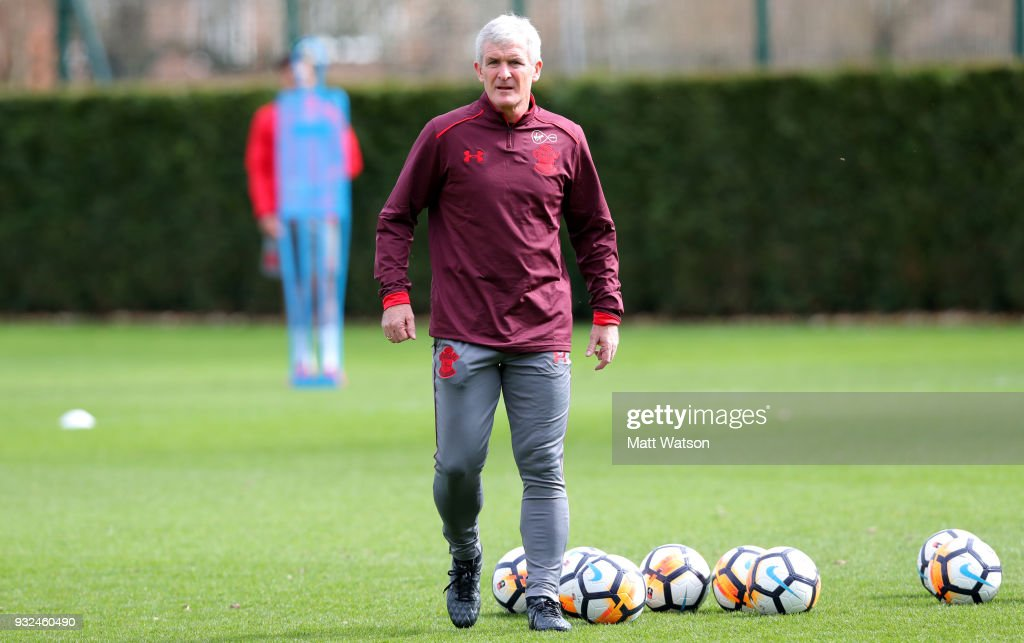Newly appointed manager Mark Hughes during his first Southampton FC training session at the Staplewood Campus on March 15, 2018 in Southampton, England.