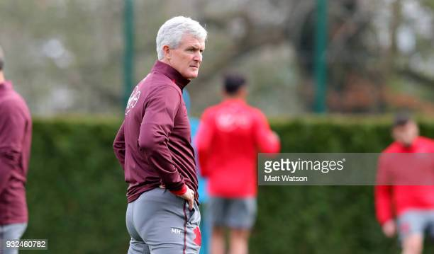 Newly appointed Manager Mark Hughes during his first Southampton FC training session at the Staplewood Campus on March 15 2018 in Southampton England