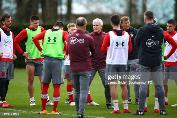 Newly appointed manager Mark Hughes speaks to the Southampton FC team during a Southampton FC first team training session at Staplewood Complex on...