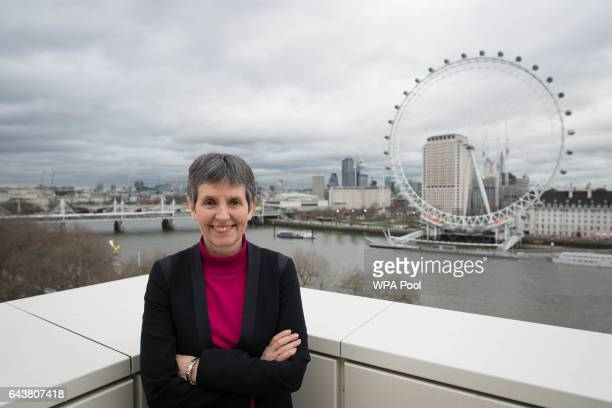 Newly appointed Metropolitan Police commissioner Cressida Dick poses for a photo at New Scotland Yard after she became the first woman to hold the...