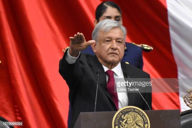 Newly appointed Mexican President Andres Manuel Lopez Obrador takes oath during the swearingin ceremony as part of the as part of the 65th Mexico...