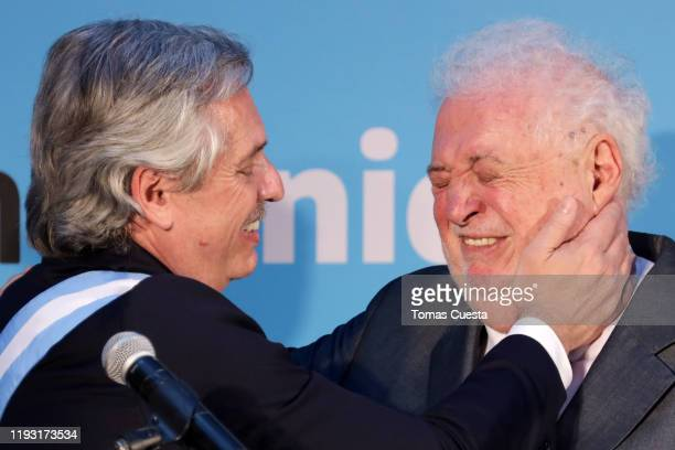 Newly Appointed Minister Health Ginés Gonzales García is ocngratulated by President of Argentina Alberto Fernandez during the ministers swearingin...