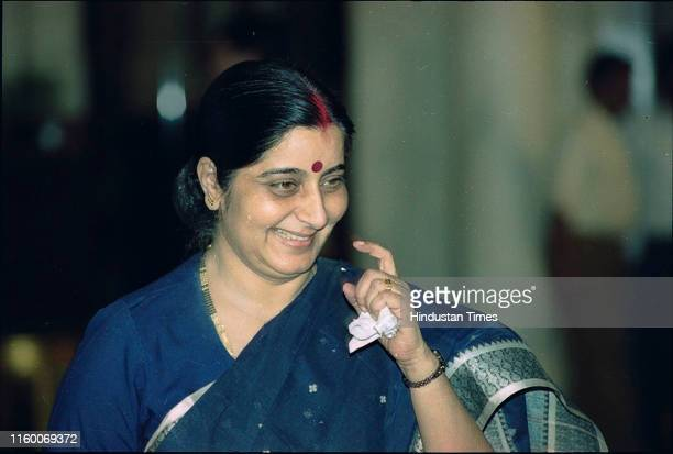 Newly appointed Minister of Information and Broadcasting Sushma Swaraj in New Delhi India Former External Affairs Minister and senior BJP leader...
