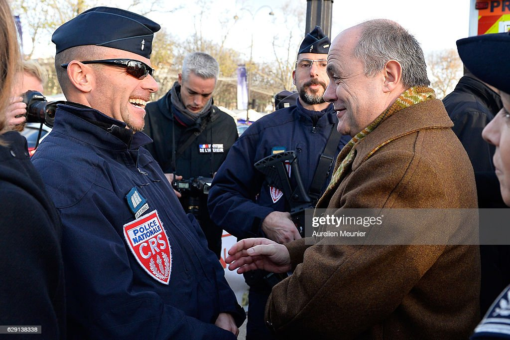 Bruno Le Roux Visits Security Forces At the Champs Elysees Christmas Market in Paris