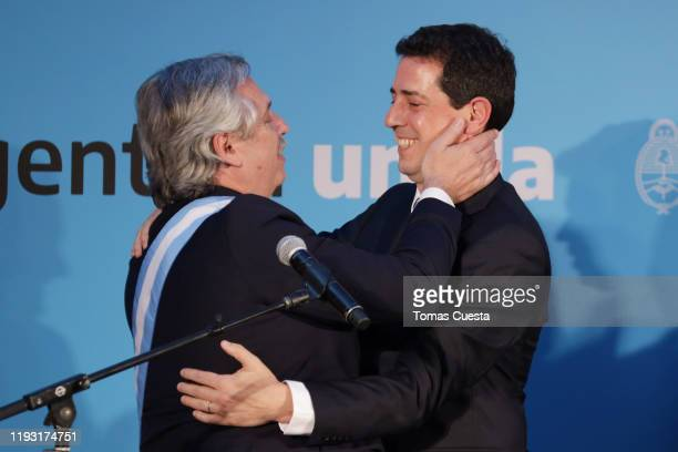 Newly appointed minister of Interior Eduardo de Pedro is congratulated by President of Argentina Alberto Fernandez after taking the oath of office...