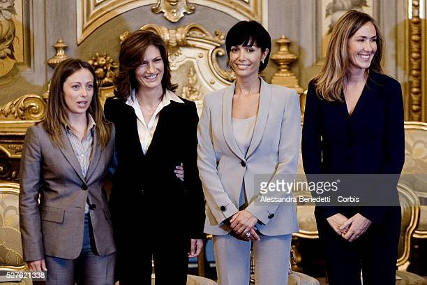 Newly appointed ministers Giorgia Meloni Maria Stella Gelmini Mara Carfagna and Stefania Prestigiacomo attend the swearing in ceremony for the new...
