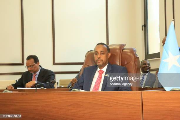 Newly appointed Mohamed Hussein Roble endorsed by all 215 members of parliament during a vote of confidence session attended by Somalian President...