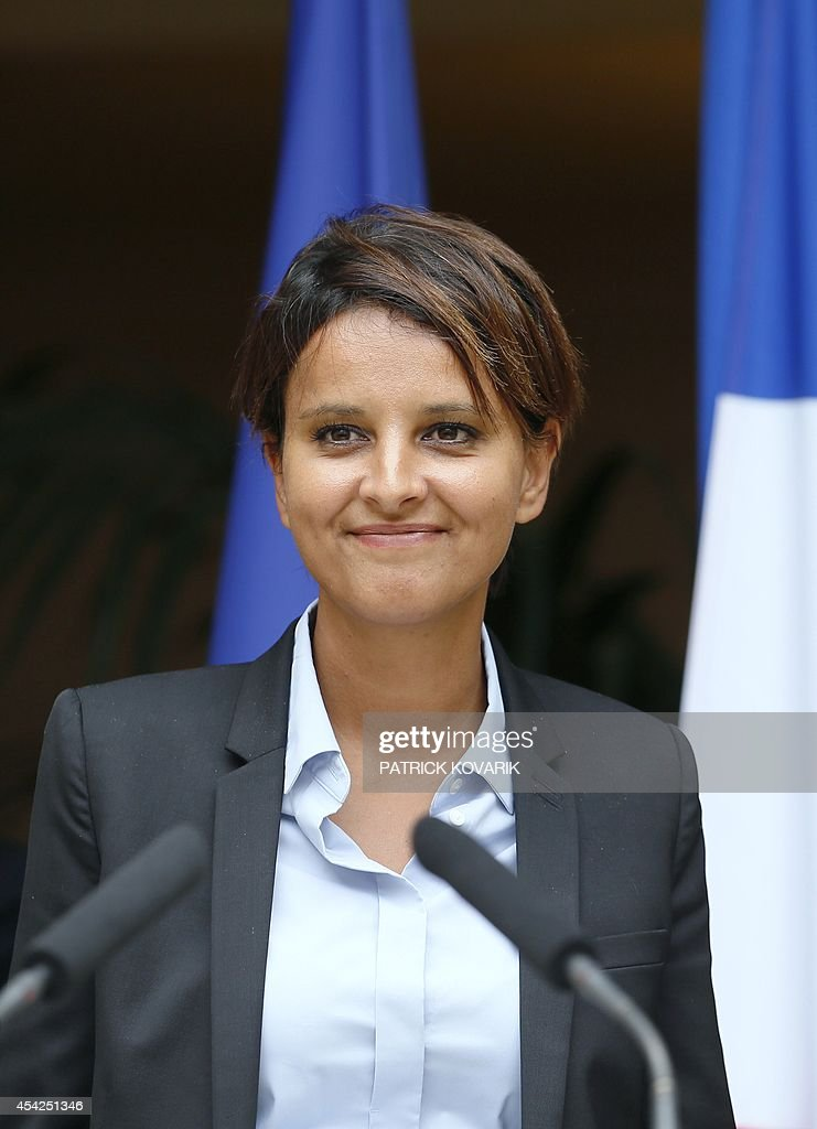Newly appointed National Education minister Najat Vallaud-Belkacem smiles during a handover ceremony on August 27, 2014 in Paris.