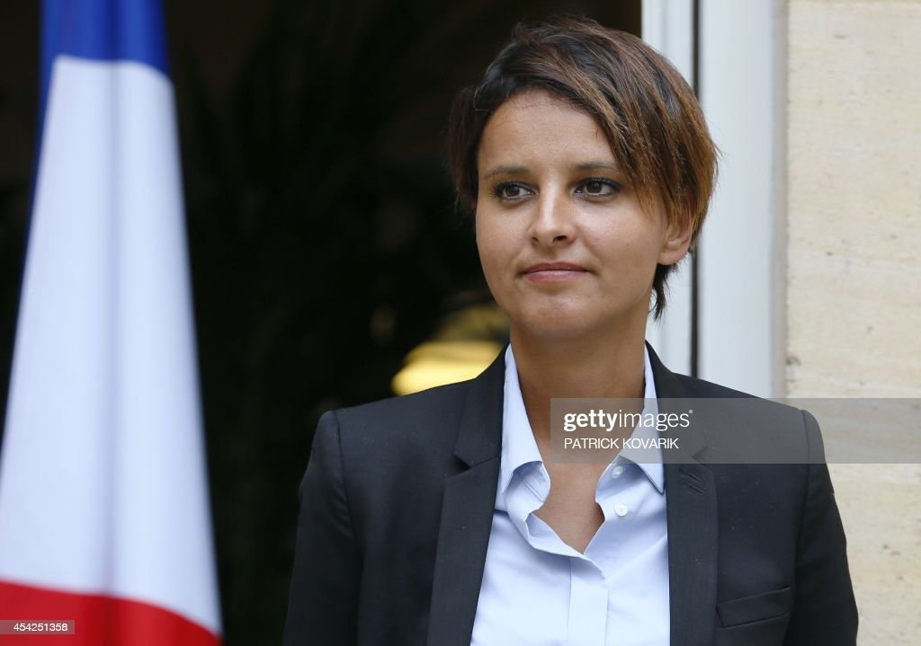 Newly appointed National Education minister Najat Vallaud-Belkacem attends a handover ceremony on August 27, 2014 in Paris.