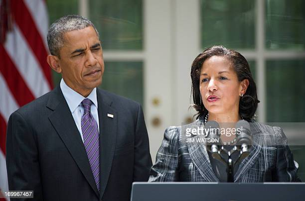 Newly appointed National Security Advisor Susan Rice speaks after US President Barack Obama appointed her during an event in the Rose Garden at the...