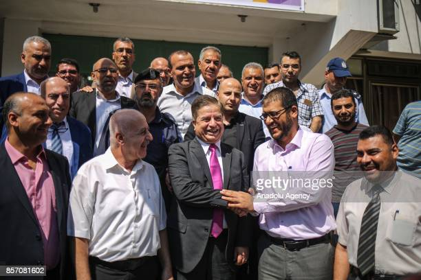 Newly appointed Palestinian Minister of Health Jawad Awwad gestures in Gaza City Gaza on October 3 2017 Following the governments weekly meeting...