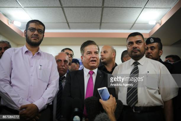 Newly appointed Palestinian Minister of Health Jawad Awwad speaks to press in Gaza City Gaza on October 3 2017 Following the governments weekly...
