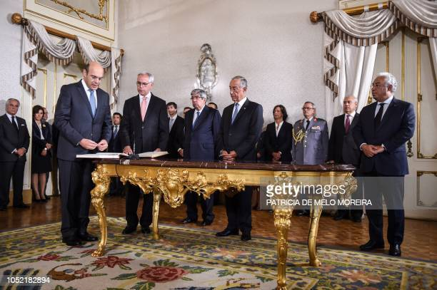 Newly appointed Portuguese Minister of Economy Pedro Gramaxo de Carvalho Siza Vieira takes the oath of office during a swearingin ceremony to appoint...