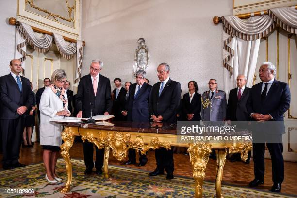 Newly appointed Portuguese Minister of Health Marta Alexandra Fartura Braga Temido de Almeida Simoes takes the oath of office during a swearingin...