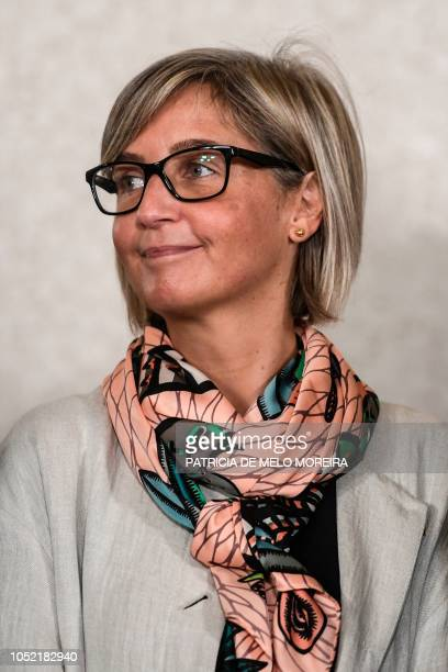 Newly appointed Portuguese Minister of Health Marta Alexandra Fartura Braga Temido de Almeida Simoes attends a swearing-in ceremony to appoint new...